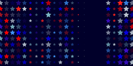 4th of July. Abstract dark blue background from red, blue, white stars in the colors of the United States, the patriotic stars of America. Vector illustration.