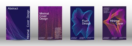 Modello di disegno di copertina set di una con onde lineari gradiente astratte.Stile alla moda. Lo sfondo con è adatto per creare striscioni, poster, opuscoli, cataloghi.