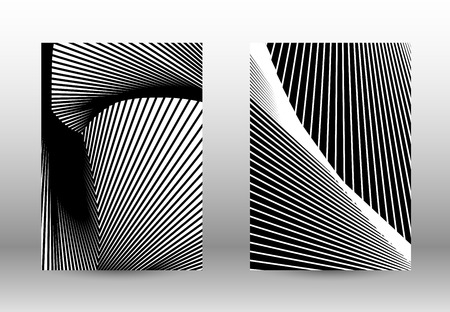 Optical contrast. Set of abstract patterns with distorted lines. Black and white striped psychedelic background. Abstract vector illustration.You can use for design covers, cards,posters.
