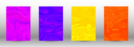 A set of modern covers. Abstract marble pattern. Blue, orange, pink, yellow pattern with lava figures. An illustration consisting of blurred lines, circles. Template for your business design.Vector.