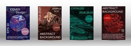 Conjunto de cubiertas de textura de mármol. Diseño de mármol moderno con líneas abstractas. Fondos fluidos creativos de las formas actuales para diseñar una portada abstracta de moda, pancarta, póster, folleto. Ilustración vectorial.