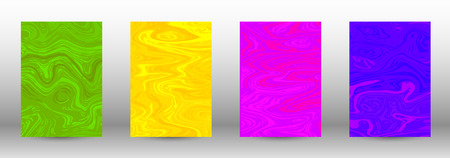 A set of modern covers. Abstract marble pattern. Blue, green, pink, yellow pattern with lava figures. An illustration consisting of blurred lines, circles. Template for your business design.Vector. 일러스트