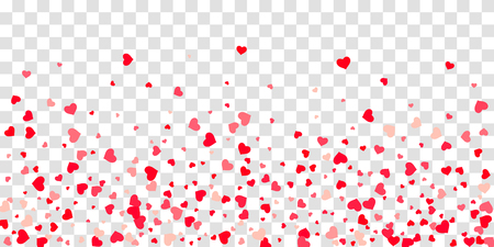The heart of confetti in red and pink color is beautifully falling chaotically against the background. Template for posters, posters, postcards, invitations. Valentines Day. Vector illustration Illustration