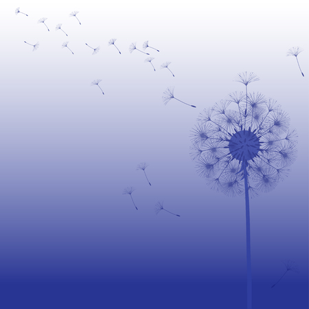 Abstract background of a dandelion for design. The wind blows the seeds of a dandelion. Template for posters, wallpapers, posters. Vector illustrations. Illusztráció