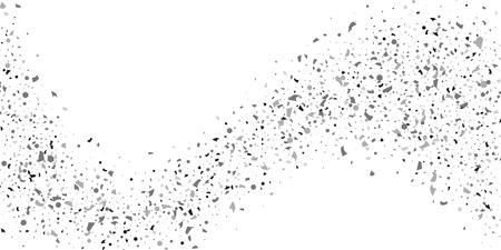 Confettis de paillettes d'argent sur fond blanc. Illustration d'une goutte de particules brillantes. Élément décoratif. Fond de luxe pour votre conception, cartes, invitations, cadeau, vip.