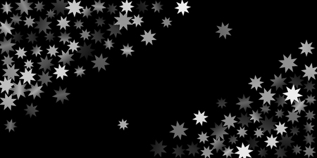 Abstract silver star of confetti. Falling starry background. Random stars shine on a black background. The dark sky with shining stars.  Suitable for your design, cards, invitations, gifts.