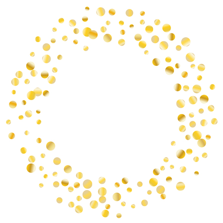 Golden confetti on a white background. Luxury festive background. Golden grainy abstract dots are scattered on a white background. Element of design. Suitable for postcards, posters, cards. Vector.