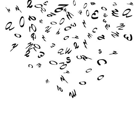 Fondo abstracto de letras negras escritas a mano, aislado sobre fondo blanco. La ilustración es buena para el diseño educativo. 23 de abril. Vector.