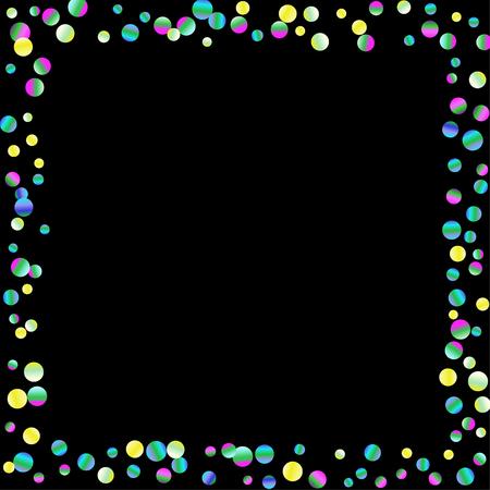 Los puntos de confeti de colores están dispersos sobre un fondo negro. Fondo festivo de lujo. Textura abstracta brillante multicolor. Elemento de diseño. Ilustración vectorial, EPS 10.