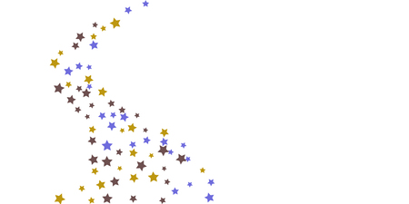 Abstract flying confetti star. A falling star background. Random stars shine on a white background. White background with blue and brown stars. Suitable for your design, cards, invitations, gifts.