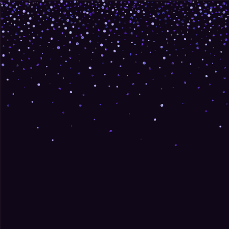 Lilac shine of confetti on a dark background. Luxury festive background. A grainy abstract texture sparkles on a purple background. Element of design. Vector illustration, EPS 10. Ilustração