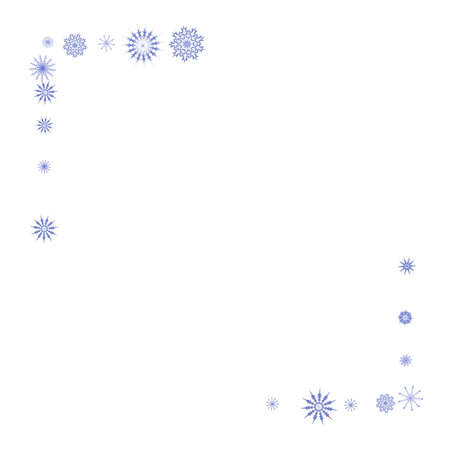 Blue snowflakes on a white background. Christmas vector background for the design of a poster, postcard, website, banner or poster. EPS 10 Ilustração