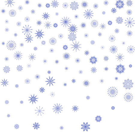 Blue snowflakes on a white background. Christmas vector background for the design of a poster, postcard, website, banner or poster. EPS 10 Vettoriali
