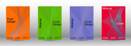 Coprire il set di modelli di progettazione di un con onde lineari sfumate astratte. Stile alla moda. Lo sfondo con è adatto per creare banner, poster, opuscoli, cataloghi.