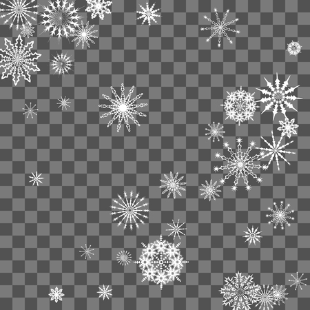Snowflakes fall on the background. Winter vector background. The effect of decorating snowflakes. The winter vacation. Well suited for a Christmas card, banner or poster. EPS 10 Vettoriali