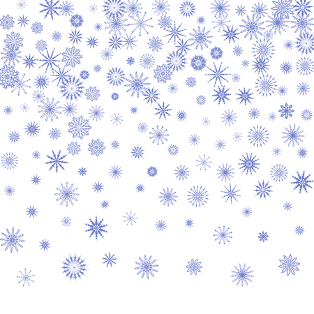 Snowflakes fall on the background. Winter vector background. The effect of decorating snowflakes. The winter vacation. Well suited for a Christmas card, banner or poster. EPS 10 Illustration