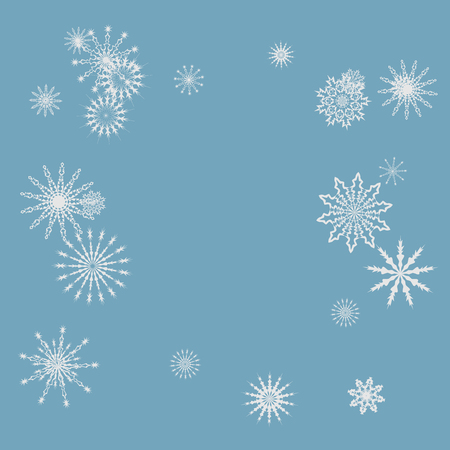 Snowflakes falling on a blue sky background. Winter vector background. The effect of decorating snowflakes. The winter vacation