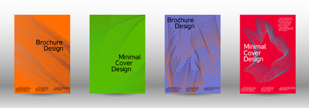 Cover design template set of a  with abstract gradient linear waves.Fashionable style