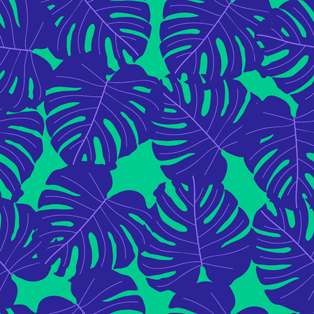Vector seamless tropical pattern, bright tropical foliage, monstera leaves. Modern bright summer print design from thickets of tropical leaves from the jungle.
