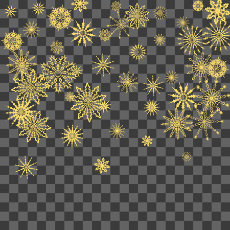Christmas and New Year background vector with falling snowflakes. The effect of decorating snowflakes. Winter vacation. Well suited for a Christmas card, banner or poster. EPS 10 Illusztráció