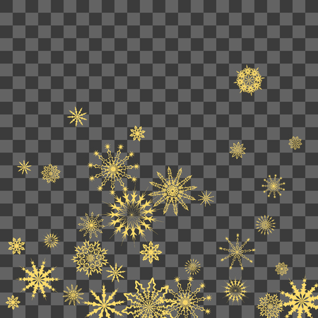 Christmas and New Year background vector with falling snowflakes. The effect of decorating snowflakes. Winter vacation. Well suited for a Christmas card, banner or poster. Vettoriali