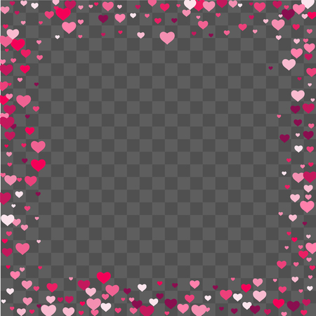 Heart confetti beautifully chaotic fall on the background. Template for posters, posters, postcards, invitations. Valentines Day. Vector illustration