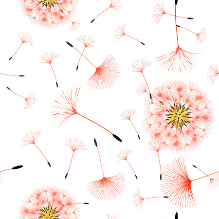 Seamless background from a dandelion. Flight of a dandelion, seeds fly from the wind. Light, pleasant texture. Suitable for fabric, paper, wallpaper. Vector illustration.