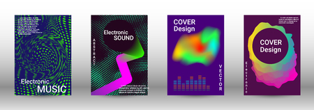 Minimum coverage of the vector. Cover design. Set of modern abstract musical backgrounds. Sound flyer for creating a fashionable abstract cover, banner, poster, booklet. Vector Illustratie