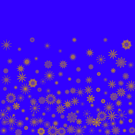 Christmas and New Year blue vector background with golden snowflakes. The effect of decorating snowflakes. The winter vacation. Well suited for a Christmas card, banner or poster. EPS 10