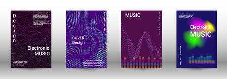 Cover design. The minimum coverage of the vector. Set of modern abstract musical backgrounds. Sound flyer for creating a fashionable abstract cover, banner, poster, booklet. Ilustrace