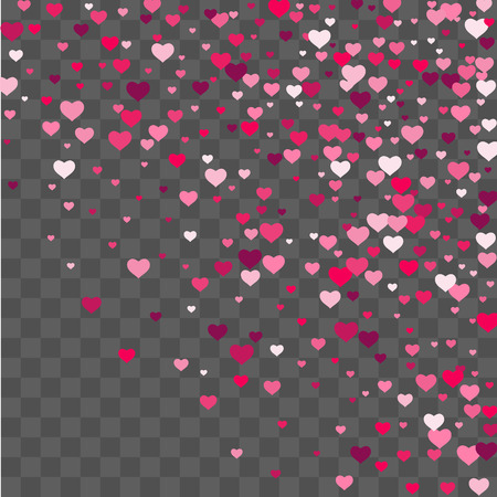 Heart confetti beautifully chaotic fall on the background. Template for posters, posters, postcards, invitations. Valentine's Day. Vector illustration