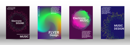 Cover design. The minimum coverage of the vector. Set of modern abstract musical backgrounds. Sound flyer for creating a fashionable abstract cover, banner, poster, booklet. Иллюстрация