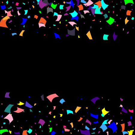 Confetti. Colorful confetti on a black background. Holiday festive background. Suitable for postcard background, banner, poster, cover design.Vector.
