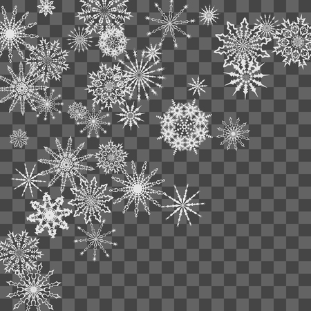 Christmas and New Year background vector with falling white snowflakes. Well suited for a Christmas card, banner or poster. EPS 10