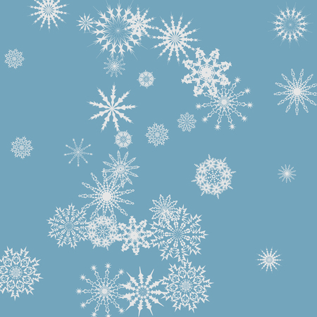 Snowflakes falling on a blue sky background. Winter vector background. The effect of decorating snowflakes. The winter vacation. Well suited for a Christmas card, banner or poster. EPS 10