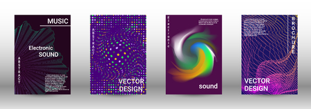 Cover design. The minimum coverage of the vector. Set of modern abstract musical backgrounds. Sound flyer for creating a fashionable abstract cover, banner, poster, booklet. Vector Illustratie