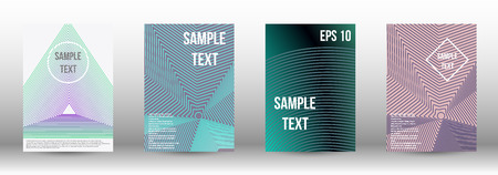 A modern cover design template. A set of modern abstract covers. Creative backgrounds from abstract gradient lines to create a trendy background for a banner, poster, booklet. Vector. Ilustração