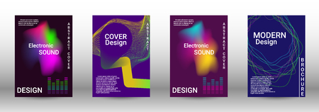 Cover design. The minimum coverage of the vector. Set of modern abstract musical backgrounds. Sound flyer for creating a fashionable abstract cover, banner, poster, booklet. Ilustração