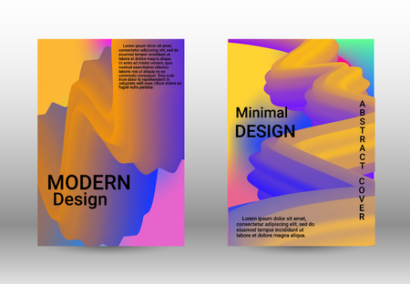 Minimum vector coverage. A set of modern abstract covers. Abstract Wave Liquid Shape. Colorful 3d Flow Design.  Modern Vector Illustration.