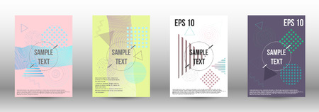 Minimum vector coverage. A set of modern abstract covers. Future template with memphis elements for banner design, poster, brochure, report, journal.