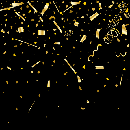 Golden confetti. Gold texture glitter on a black background. Element of design. Golden abstract textures are chaotically falling. Vector illustration, EPS 10.