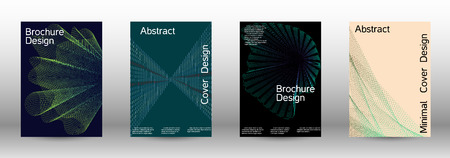Cover design template set of a with abstract gradient linear waves. Fashionable style.  Suitable for creating a fashionable abstract cover, banner, poster.