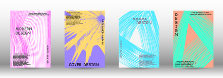 Cover design. 3D distorted lines for brochure, sound poster. Trendy geometric patterns. EPS10 Vector Design.