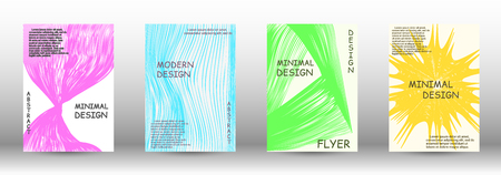 Set of modern abstract covers. Wave lines.Striped background. Trendy geometric patterns. EPS10 Vector Design.