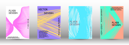 Minimal vector coverage. A set of trendy covers. Wave lines.Striped background. Trendy geometric patterns. EPS10 Vector Design.