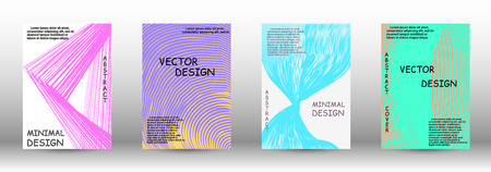 Minimal vector coverage. A set of trendy covers. 3D distorted lines for brochure, sound poster. Trendy geometric patterns. EPS10 Vector Design.