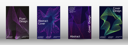 Electronic music festival poster. Minimal vector cover design with abstract gradient linear waves. Vector sound flyer for creating a fashionable abstract cover, banner, poster, booklet. Ilustrace