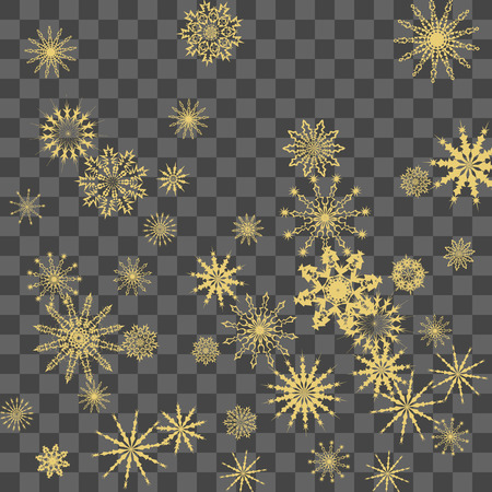 Christmas and New Year vector background with golden snowflakes. The effect of decorating falling golden snowflakes. Winter vacation. Good for Christmas card, banner or poster. EPS 10
