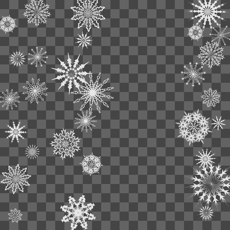 Snowflakes fall on the background. Winter vector background. The effect of decorating snowflakes. The winter vacation. Well suited for a Christmas card, banner or poster. EPS 10 Иллюстрация