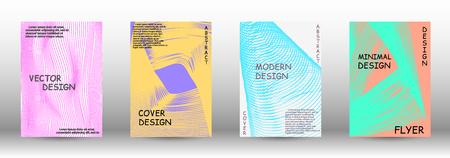 Cover design. 3D distorted lines for brochure, sound poster. Trendy geometric patterns. Vector Design. Illustration